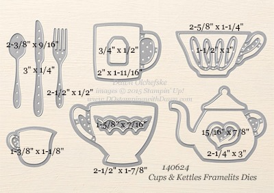 Cups & Kettles Framelits Dies sizes shared by Dawn Olchefske #dostamping #stampinup