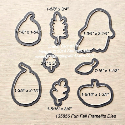 Fun Fall Framelit sizes shared by Dawn Olchefske #dostamping #stampinup