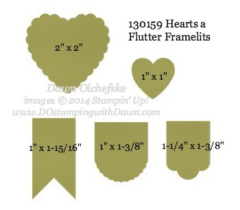 Hearts a Flutter Framelit sizes shared by Dawn Olchefske #dostamping #stampinup