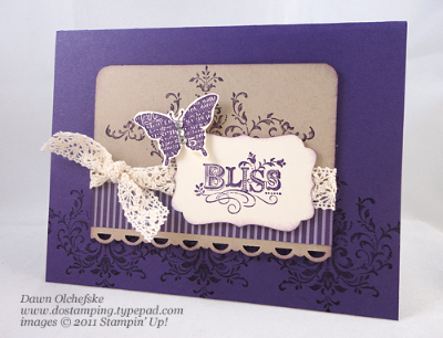 Elegant Eggplant Bliss card shared by Dawn Olchefske #dostamping #stampinup