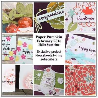 February 2016 Paper Pumpkin Hello Sunshine Bonus from Dawn Olchefske #dostamping #stampinup