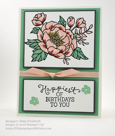Birthday Blooms swap cards shared by Dawn Olchefske #dostamping #stampinup (Betty Weisbrich)
