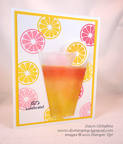 Lemonade Cup Card with Brayer Card by Dawn Olchefske #dostamping #stampinup