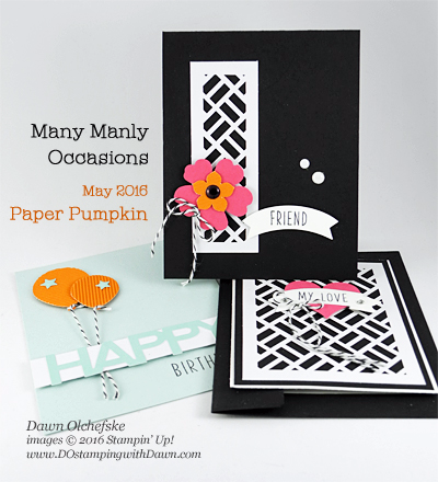 Use one card to create three with Many Manly Occasions Paper Pumpkin Alternative Ideas created by Dawn Olchefske #dostamping #stampinup