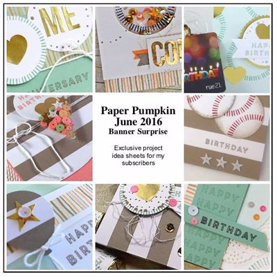 Banner Surprise Paper Pumpkin Alternative Ideas BONUS PDF for Subscribers offered by Dawn Olchefske #dostamping #stampinup