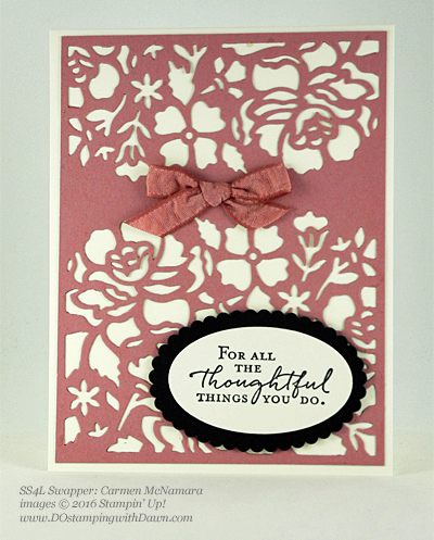 Floral Phrases swap card shared by Dawn Olchefske #dostamping #stampinup (Carmen McNamara)
