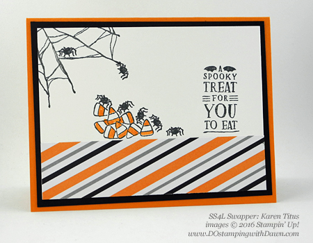 7 spooky Stampin' Up! 2016 Holiday Catalog Halloween swap cards shared by Dawn Olchefske #dostamping (Karen Titus)