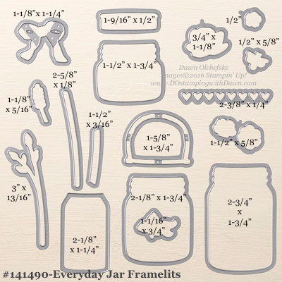 Stampin' Up! Everyday Jars Framelits Dies sizes shared by Dawn Olchefske #dostamping