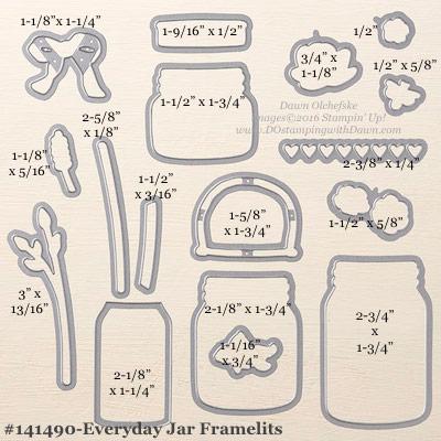 Stampin' Up! Everyday Jars Framelits Dies sizes shared by Dawn Olchefske #dostamping