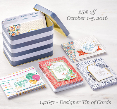 Stampin' Up! Designer Tin of Cards World Card Making Day special Oct 1-5, shop with Dawn Olchefske, #dostamping