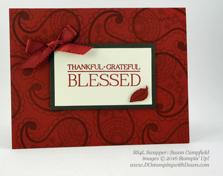 Stampin' Up! Paisleys & Posies swap cards shared by Dawn Olchefske #dostampin #stampinup (Susan Campfield)