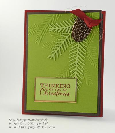 Stampin' Up! Christmas Pines Bundle swap cards shared by Dawn Olchefske #dostamping #stampinup (Jill Somrock)