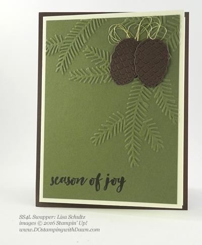 Stampin' Up! Christmas Pines Bundle swap cards shared by Dawn Olchefske #dostamping #stampinup (Lisa Schultz)