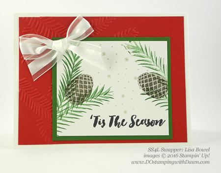 Stampin' Up! Christmas Pines Bundle swap cards shared by Dawn Olchefske #dostamping #stampinup (Lisa Bowel)
