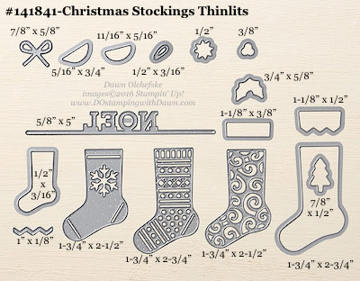 Christmas Stockings Thinlits Dies sizes shared by Dawn Olchefske #dostamping #stampinup