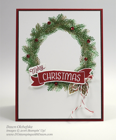 Bunch of Banners Wreath Card created by Dawn Olchefske #dostamping