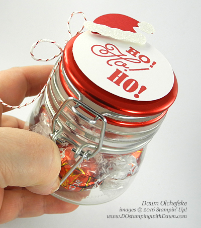 Greetings from Santa candy jar created by Dawn Olchefske #dostamping