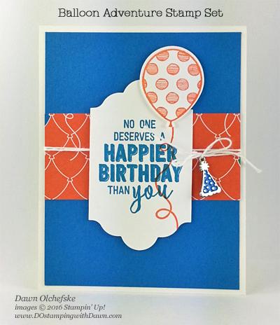 Stampin' Up! Balloon Adventures card by Dawn Olchefske for DOstamperSTARS Thursday Challenge #DSC#212 #dostamping