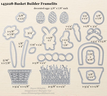 Stampin' Up! Basket Builder Framelits sizes shared by Dawn Olchefske #dostamping