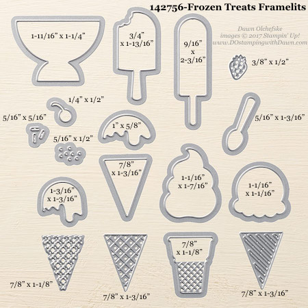 Stampin' Up! Frozen Treats Framelits Dies sizes shared by Dawn Olchefske #dostamping