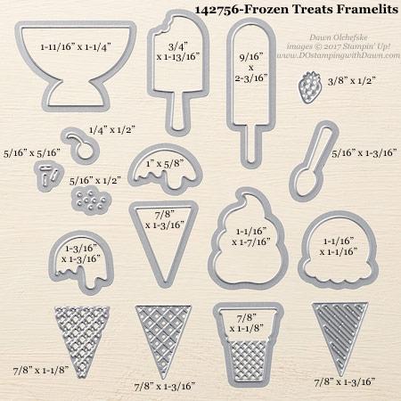 Stampin' Up! Frozen Treats Framelits Dies sizes shared by Dawn Olchefske #dostamping