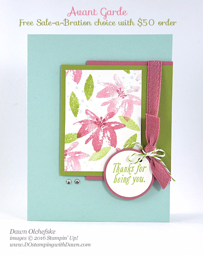 Stampin' Up! Sale-a-Bration Avant Garden card by Dawn Olchefske #dostamping
