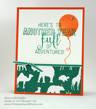 Stampin' Up! Balloon Adventure & Party Animal DSP cards by Dawn Olcheske #dostamping