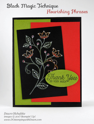 Stampin' Up! Flourishing Phrases Black Magic With a Twist card created by Dawn Olchefske for DOstamperSTARS Thursday Challenge #DSC215 #dostamping