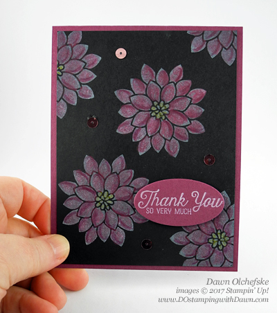 Stampin' Up! Flourishing Phrases Black Magic card createdby Dawn Olchefske #dostamping