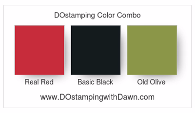 Stampin' Up! classic color combo: Real Red, Basic Black, Old Olive #dostamping