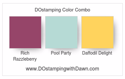 Stampin' Up! color comb: Rich Razzleberry,Pool Party, Daffodil Delight #dostamping