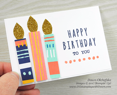Stampin' Up! Paper Pumpkin Feb 2017 Kit Many Happy Birthday Trio of Notecards by Dawn Olchefske #dostamping