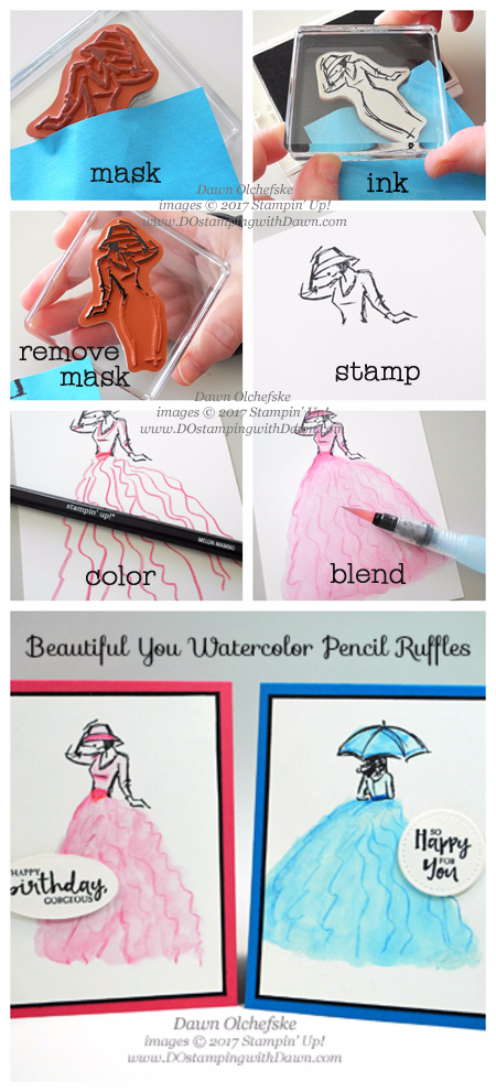 Stampin' Up! Watercolor PencilRuffles Beautiful You tutorial shared by Dawn Olchefske  #dostamping