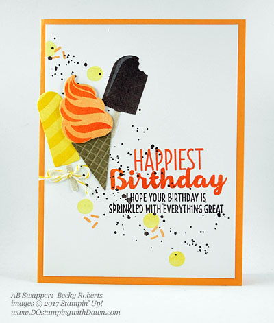 Stampin' Up! Cool Treats Bundle & Suite swap cards shared by Dawn Olchefske #dostamping (Becky Roberts)