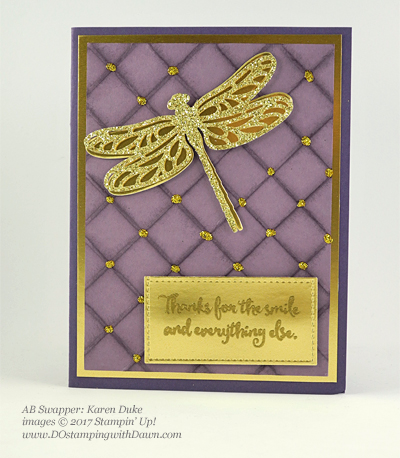 Stampin' Up! Dragonfly Dreams bundle swap cards shared by Dawn Olchefske #dostamping (Karen Duke)