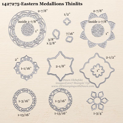 Stampin' Up! Eastern Medallions Thinlits sizes shared by Dawn Olchefske #dostamping