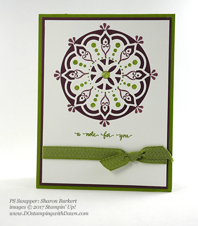 Stampin' Up! Eastern Palace Bundle swap cards shared by Dawn Olchefske #dostamping (Sharon Burkert)