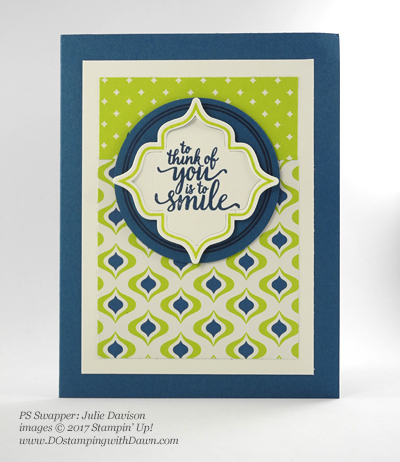 Stampin' Up! Eastern Palace Bundle swap cards shared by Dawn Olchefske #dostamping (Julie Davison)