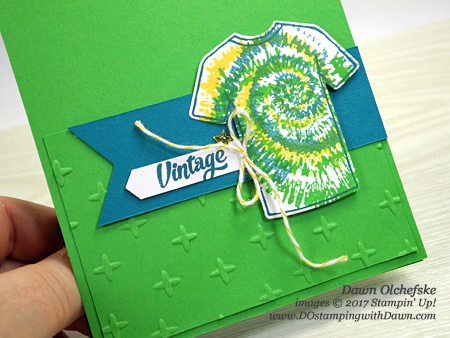 For Dads & Grads week, Stampin' Up! Custom Tee, Tie Dyed & T-Shirt Builder Framelits card by Dawn Olchefske #dostamping
