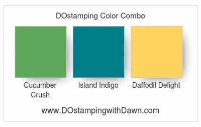 Stampin' Up! color combo Cucumber Crush, Island Indigo & Daffodil Delight #dostamping