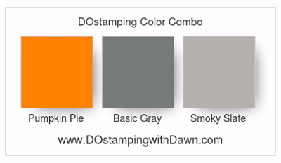 Stampin' Up! color combo Pumpkin Pie, Basic Gray & Smoky Slate #dostamping