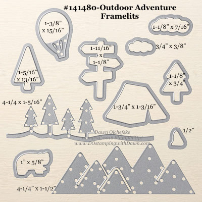 Outdoor Adventure Framelits Dies sizes shared by Dawn Olchefske #dostamping #stampinup