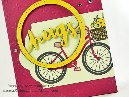 Stampin' Up! Bike Ride stamp set and Lovely Words Thinlits shared by Dawn Olchefske #dostamping