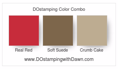 Stampin' Up! color combo Real Red, Soft Suede, Crumb Cake #dostamping