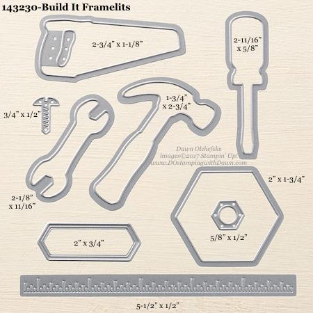 Stampin' Up! Build It Framelits sizes shared by Dawn Olchefske #dostamping