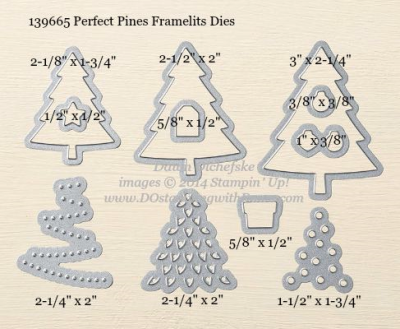 Perfect Pines Framelits Dies sizes shared by Dawn Olchefske #dostamping #stampinup