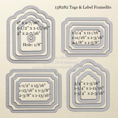 Tags & Label Framelit sizes shared by Dawn Olchefske #dostamping #stampinup
