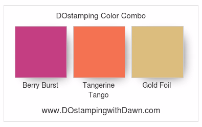 Stampin' Up! color combo Berry Burst, Tangerine Tango, Gold #dostamping