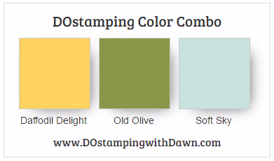 Stampin' Up! color combo Daffodil Delight, Old Olive, Soft Sky #dostamping