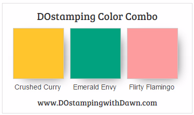 Stampin' Up! color combo Crushed Curry, Emerald Envy, Flirty Flamingo #dostamping